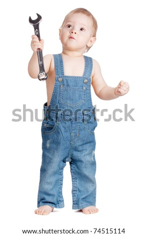 Small baby worker with spanner wrench. Isolated on white