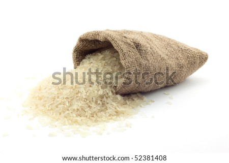 small bag of rice on a white background
