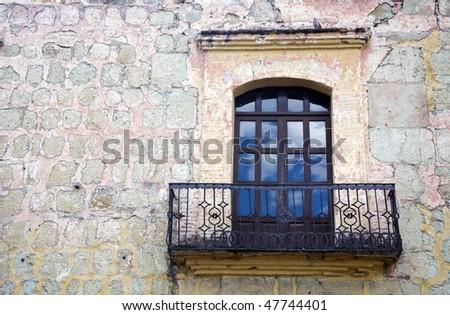 Small balcony in the historic city of Oaxaca, Mexico
