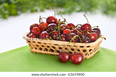 Small basket with fresh cherry