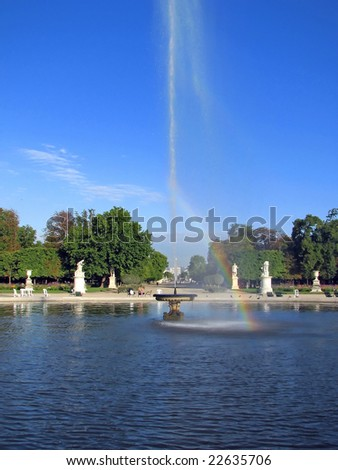 Small Bassin fountain in Garden of the Tuileries in Paris - The Tuileries Garden is a public garden located between the Louvre Museum and the Place de la Concorde in the 1st arrondissement of Paris.