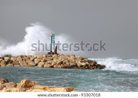 Small beacon and storm waves