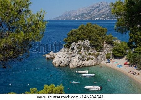 Small beautiful cove beach in Brela, Croatia