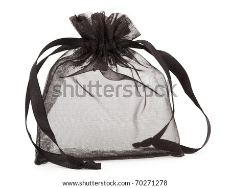 Small black gauze present bag isolated on white