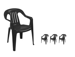 small black  plastic chairs and the big onel  on white