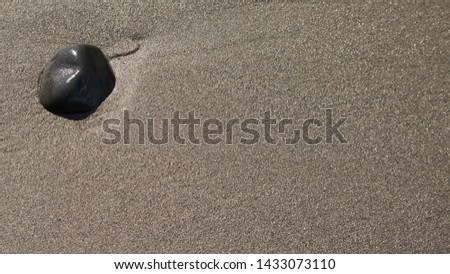 Small black rock on the beach at low tide at Clam Gulch Beach of Cook Inlet in Alaska; suitable for background and texture