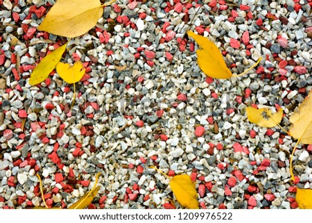 Small black, white and red pebble background with autumn yellow fall leaves. Top view of contrast gravel stone texture #1209976522