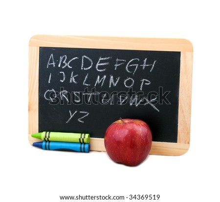 small blackboard frame with text and crayons