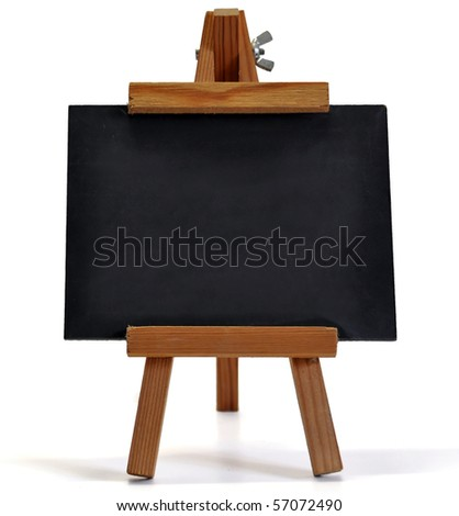 Small blackboard on easel with large space for your copy text (announcement, offer, menu)