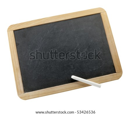 Small blank chalkboard with white stick of chalk shot on white background, with space for copy on board.