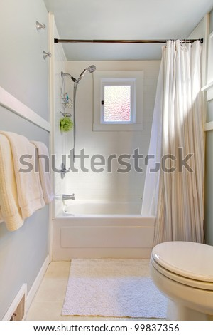 Small blue bathroom with light grey blue and shower curtain.