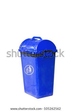 Small blue garbage bin with black garbage bag