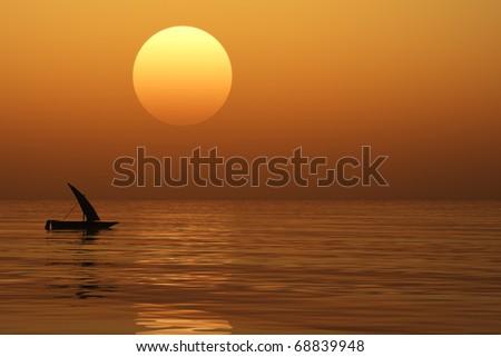 Small boat at sunset sea