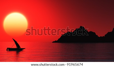 Small boat at sunset sea