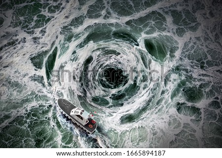 Small boat escape from the horrible whirlpool. Stock photo ©