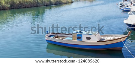 small boat in Temo river, Sardinia