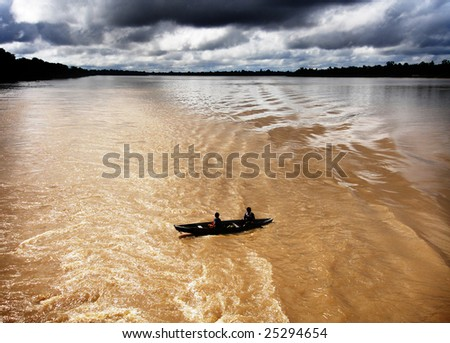 Small boat on the Amazon River