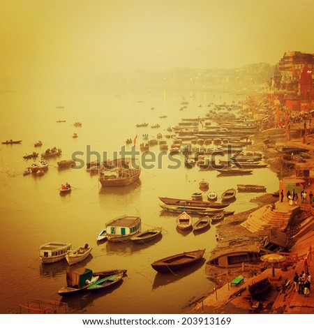 Small boats at Ganga river instagram effect Sunrise photo with retro filter