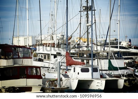 Small Boats Harbor in Port Angeles, Washington, USA. Marine Photo Collection.
