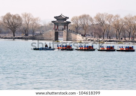 Small boats over the summer Palace lake.