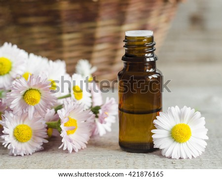 Small bottle of daisy flowers tincture