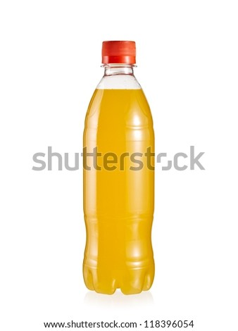 Small bottle of orange juice with drops