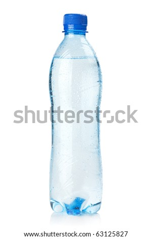 Small bottle of water. Isolated on white background