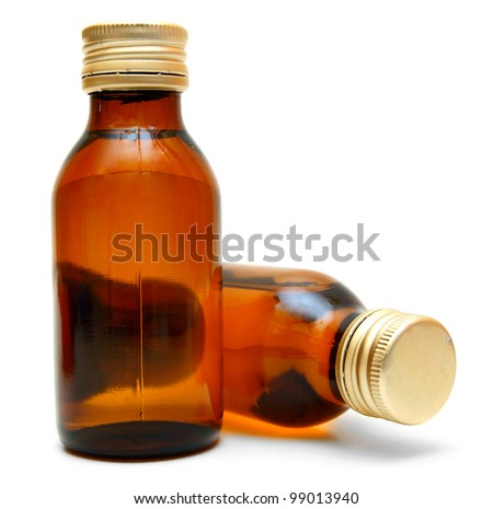 Small bottles on a white background.