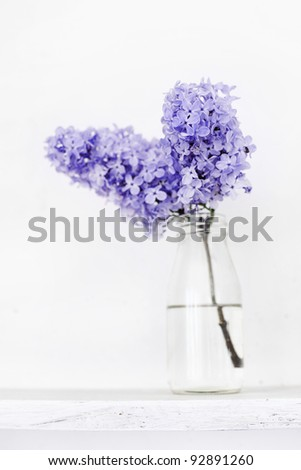 Small bouquet of lilac in glass bottle on white wooden shelf as detail of interior