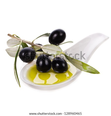 small bowl with olive oil, decorated with a small twig with black olives, fruit, isolated on white background