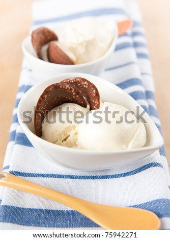 Small Bowls of vanilla Ice Cream with Chocolate Waves on Top