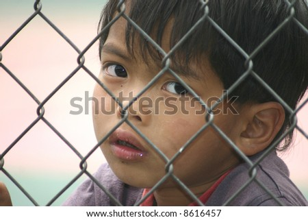 small boy through a fence