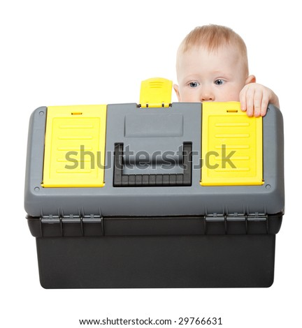 small boy with toolbox isolated on white