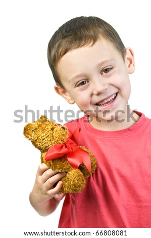 small boy with toy isolated