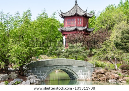 Small Bridge and Water front part of a Chinese temple in Montreal # 2