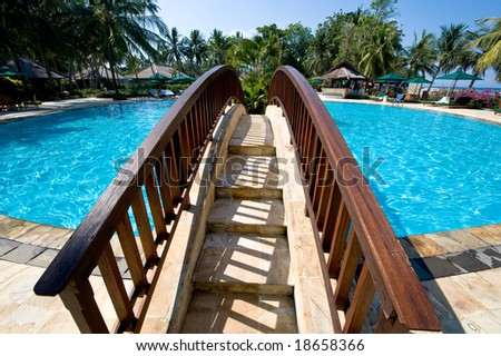 small bridge in the swimming pool