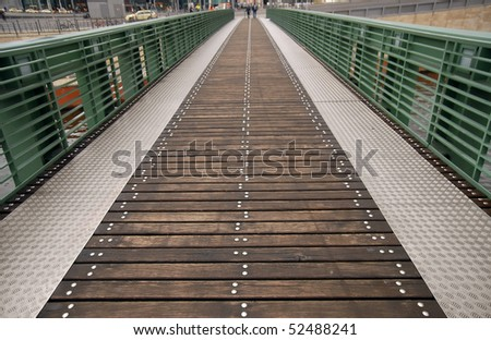 Small bridge passover to the Central Station in Berlin. Focus on first plan.