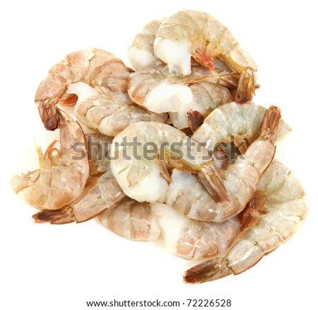 Small bunch of Thailand shrimp raw over white. Deveined ready to cook.
