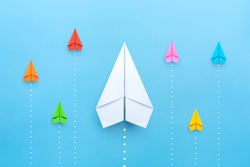 Small business, Business competition concept with Paper plane on blue background