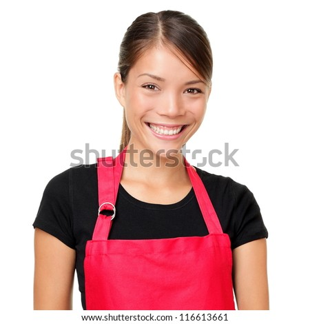 Small business owner portrait. Isolated portrait of young entrepreneur wearing apron. Mixed-race Asian Chinese / Caucasian female shop owner or alike isolated on white background.