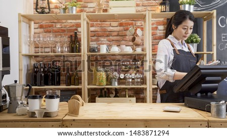 small business people and service concept. happy woman waitress in apron at counter with cashbox working at coffee shop. young girl barista in modern cafe bar touching on touch pad checking order.