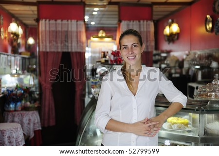 small business: proud female owner of a cafe