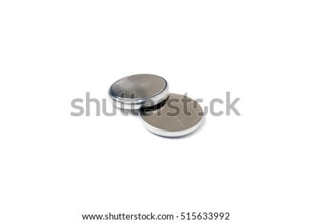 small button lithium batteries isolated on a white background. #515633992
