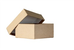 small cardboard box with open lid isolated on white background