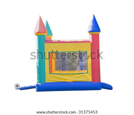 small castle shaped bounce house isolated on white