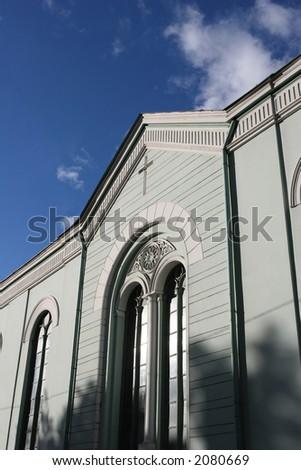 Small catholic church in the center of the city (Riga, Latvia, Europe) - stock photo