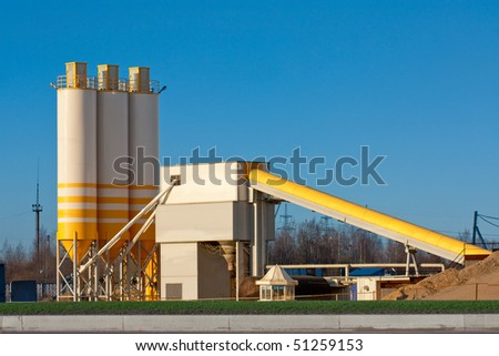 Small Cement Factory with three silos and conveyor