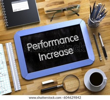 Small Chalkboard with Performance Increase Concept. 3d.