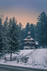 Small chapel Jaszczurowka built of wood and stones, Zakopane, Poland