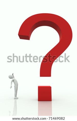 Small character watching big question mark on a white background